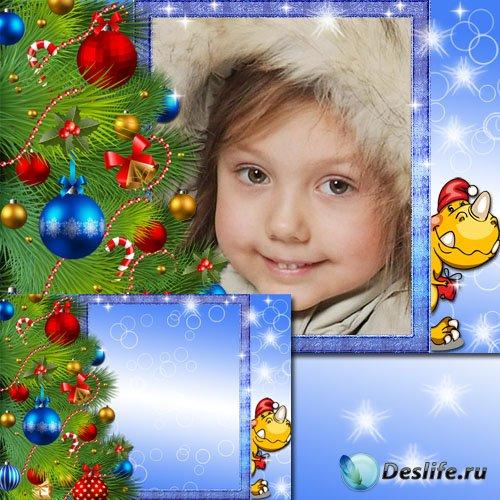 Детская рамка с дракончиком - Новогодняя елка