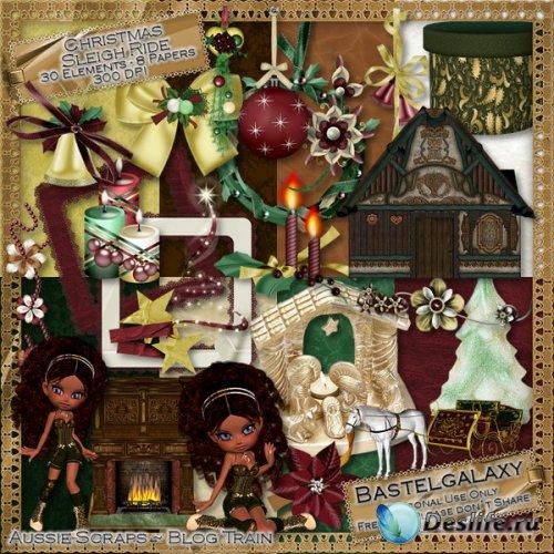 Скрап набор - Катание на рождественских санях
