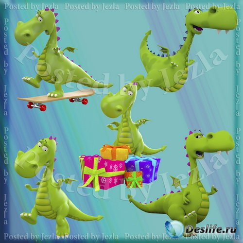 PNG, JPG Клипарт - Драконы (Green Dragons)