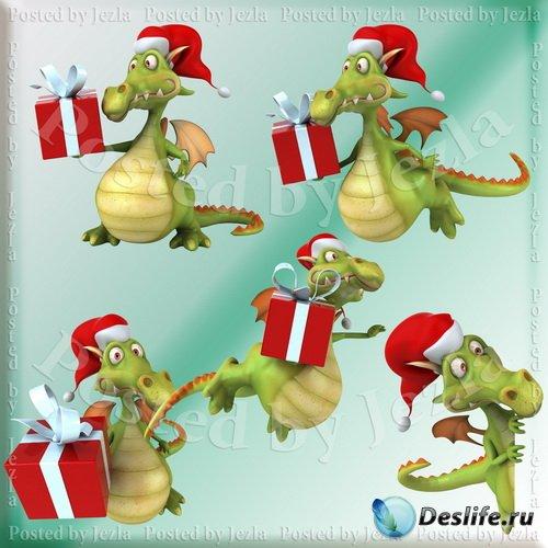 ShutterStock Клипарт - Новогодние Драконы (Christmas Dragons)