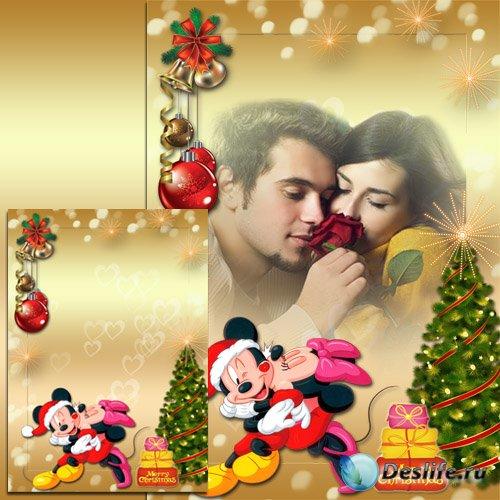Праздничная рамка - Новый год с Микки и Мини