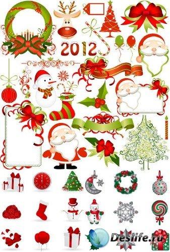 Векторные элементы для Новогодних праздников