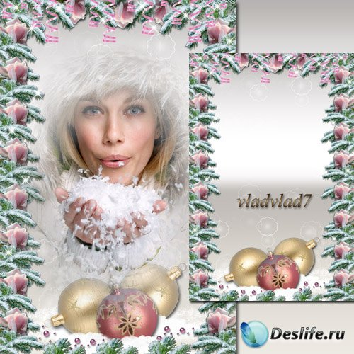 Новогодняя рамка обрамленная розами и еловыми веточками