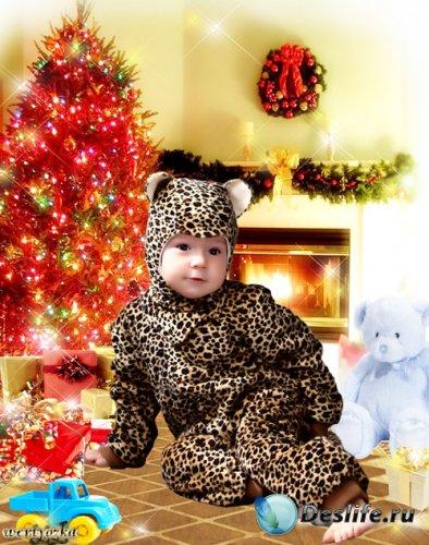 Новогодний детский костюм для фотошопа - Малыш в костюме леопарда
