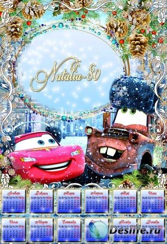Веселый детский календарь-рамка на 2012 год - Зимние Тачки