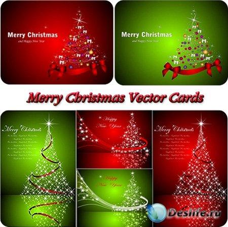 Векторные карточки на Рождество и Новый год