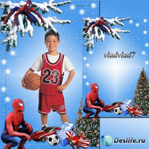 Новогодняя рамка для мальчиков - Человек-паук