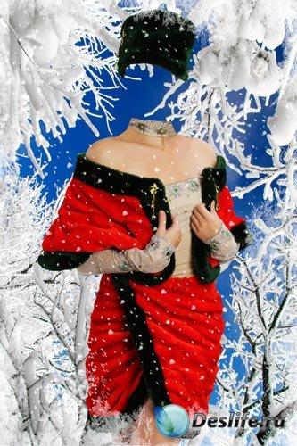 Костюм для фотошопа - Женщина в красной шубе