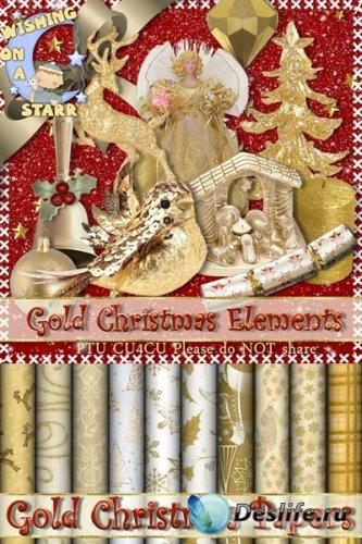 Скрап набор - Золотое рождество