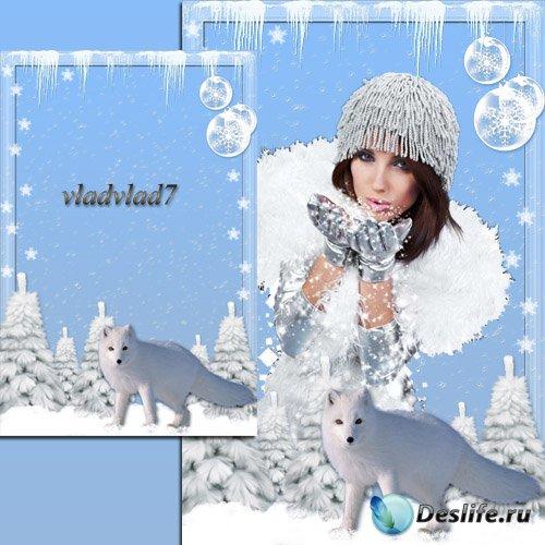 Новогодняя рамка с полярной лисой