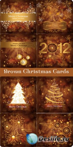 Векторные Рождественские карточки в коричневых тонах
