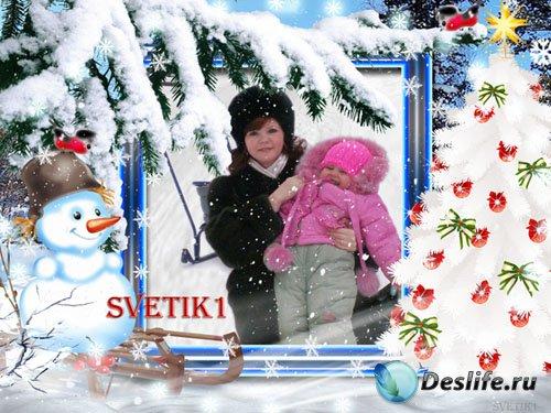 Новогодняя рамка для фото - Снеговик с елкой