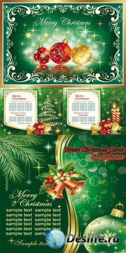 Векторные Рождественские карточки в зеленых тонах