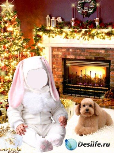 Новогодний детский шаблон - Малыш в костюме зайчика