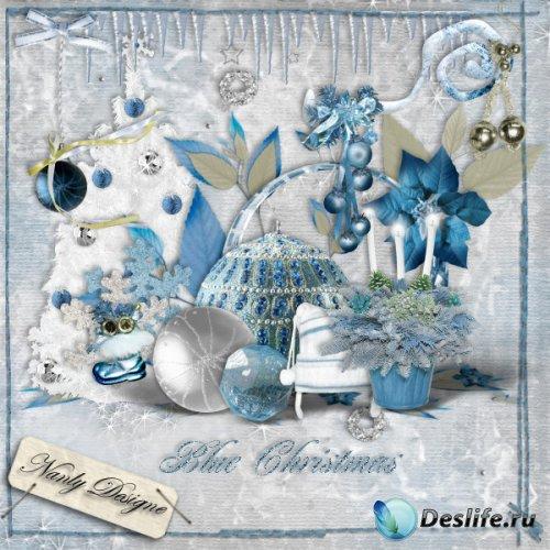 Скрап набор - Голубое рождество