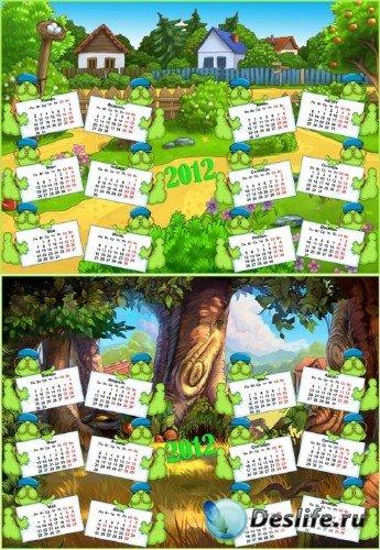 Календарь для детей на английском и русском языке на 2012 год