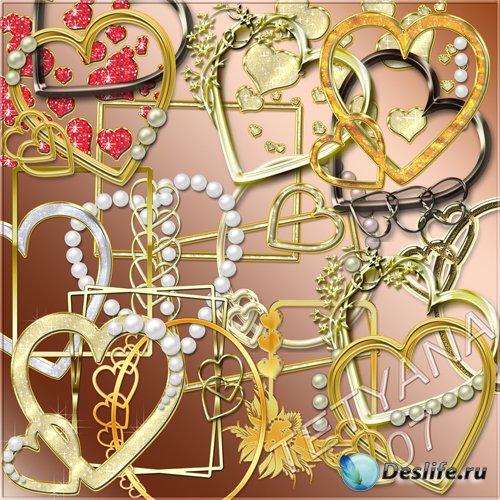 Вырезы для рамок - Золотые сердечки и жемчуг