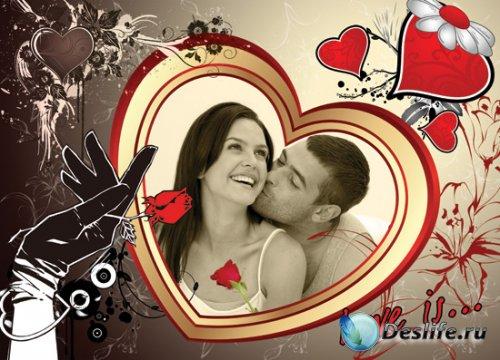 Рамочка для Фотошопа - Сердце и роза