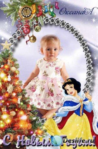 Новогодняя детская рамка для фото  – Наша Белоснежка