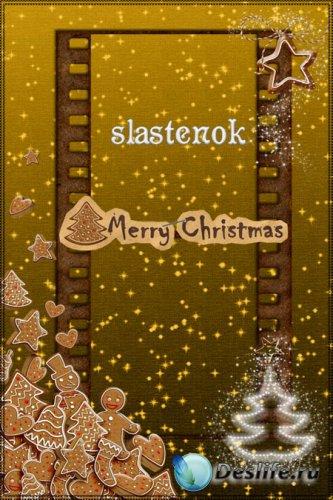 Рамка для фотошопа - Рождественское печенье