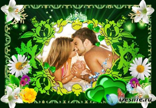 Рамочка для фотошоп - Зелёная романтика