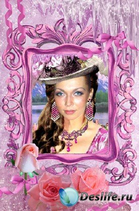Рамка для фотошопа - Розовый лед