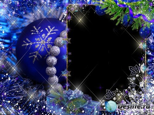 Рамка для фото –  Новогодние синие шары