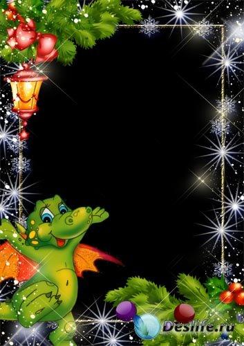 Рамка для фото – Новогодний фонарик и дракончик