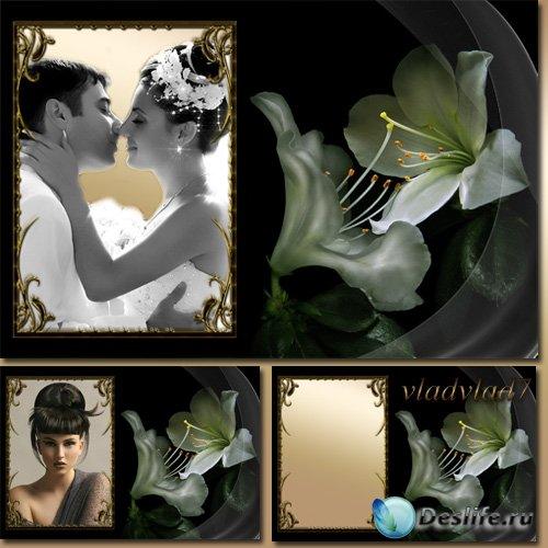 Стильная рамка для фото - Белые лилии