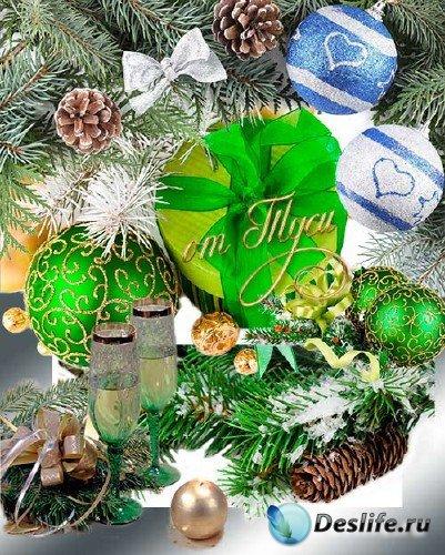 Новогодний клипарт – Ветки ели и игрушки - 3