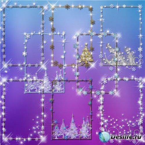 Изящные зимние вырезы-рамки  в формате PNG - Новогодний праздник