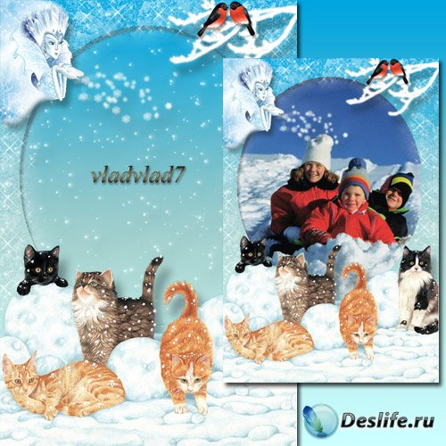 Зимняя рамка для фото с котятами - Снежная королева