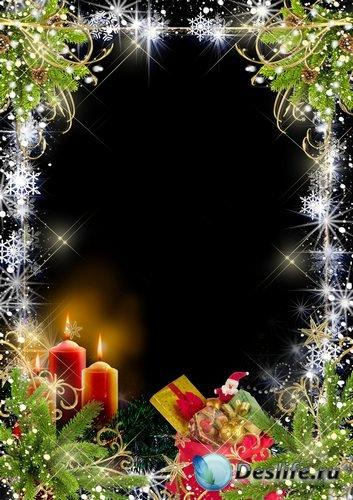 Рамка для фото – Рождественские свечи