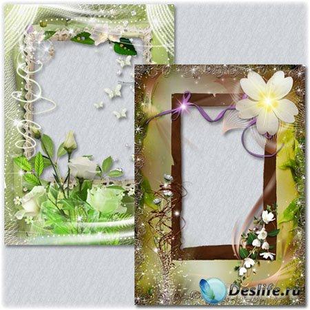 Две цветочные рамки для фото
