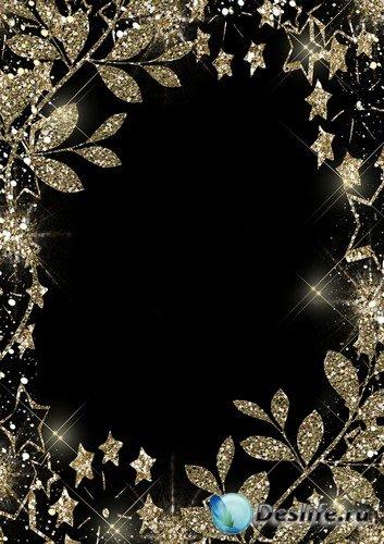 Рамка для фото –  Золотые гламурные листочки