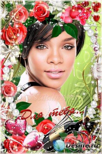 Рамочка с розами – Этот вечер романтичный и цветы, все  Для тебя…