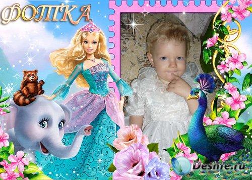 Детская рамка для фотошоп с Барби
