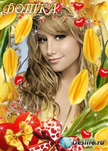 Цветочная рамка для фотошоп с жёлтыми тюльпанами