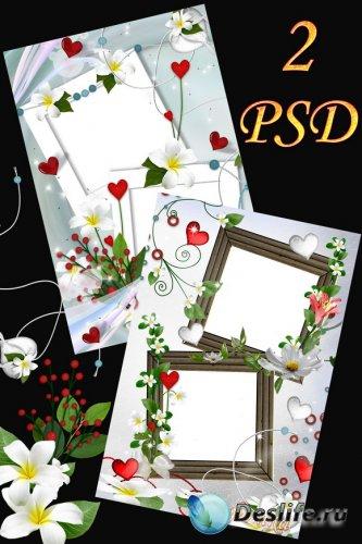 Рамочки для фотошоп с белыми цветами и сердечками