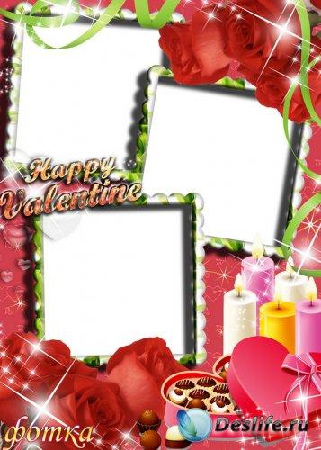 Романтическая фоторамочка с розами и свечами