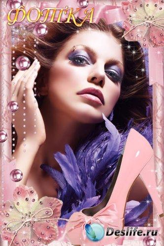 Гламурная рамка для фотошоп в розовых тонах