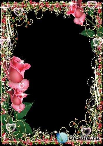 Рамка для фотошопа – Блеск красных роз