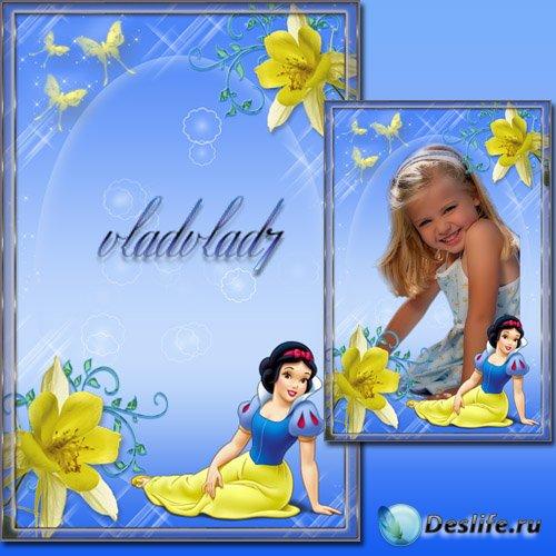 Фоторамка для девочек - Принцесса Белоснежка, цветы и бабочки