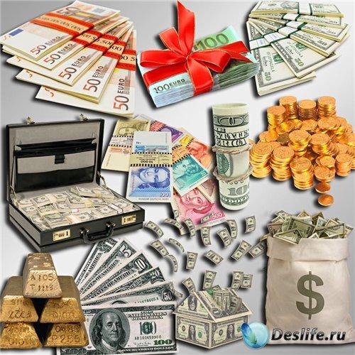 Клипарт в PNG - Бумажные деньги, золото и монеты