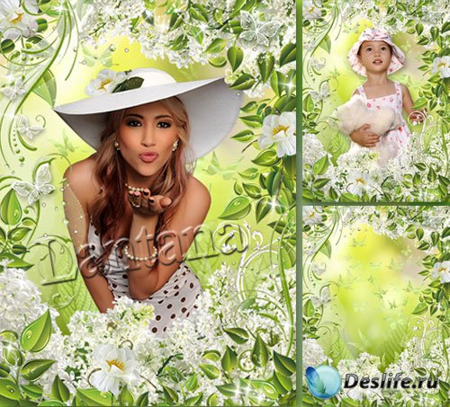 Весенняя рамочка - Белая сирень в саду моем цветёт
