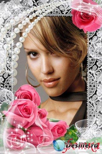 Рамка для фото - Розовые розы 2
