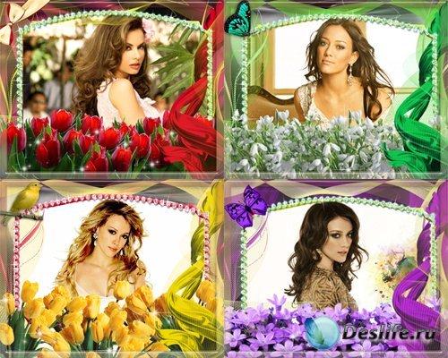 Рамочки для оформления фото - Весенние цветы
