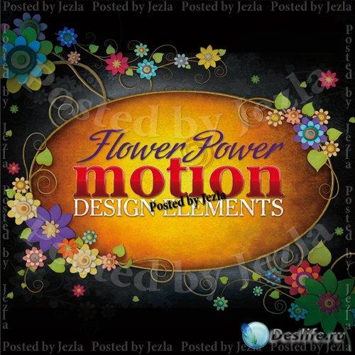 Футажи Цветочные Элементы - Flower Power Motion Design Elements