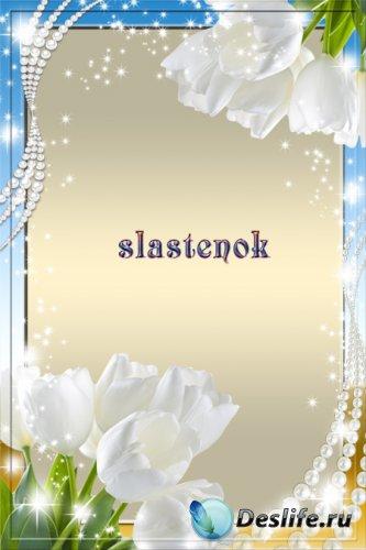 Рамка для фотошопа - Белое сияние тюльпанов