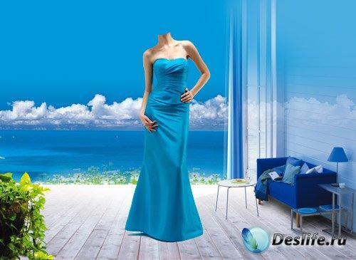 Костюм для фотошопа - Женщина в голубом платье